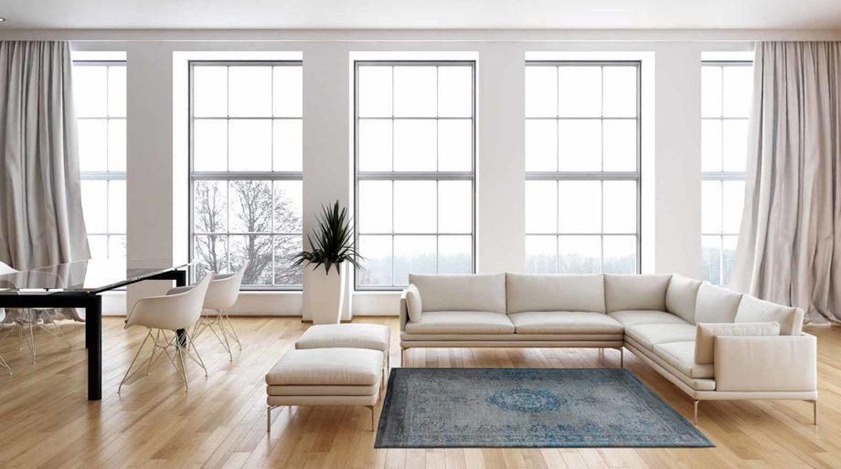 tapijt Louis De Poortere CA 8255 Fading World Medaillon Grey Turquoise interior
