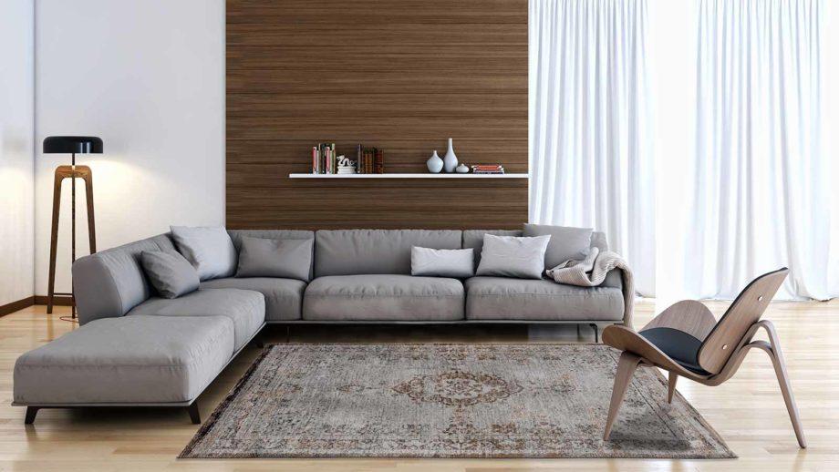 tapijt Louis De Poortere CA 8257 Fading World Medaillon Grey Ebony interior