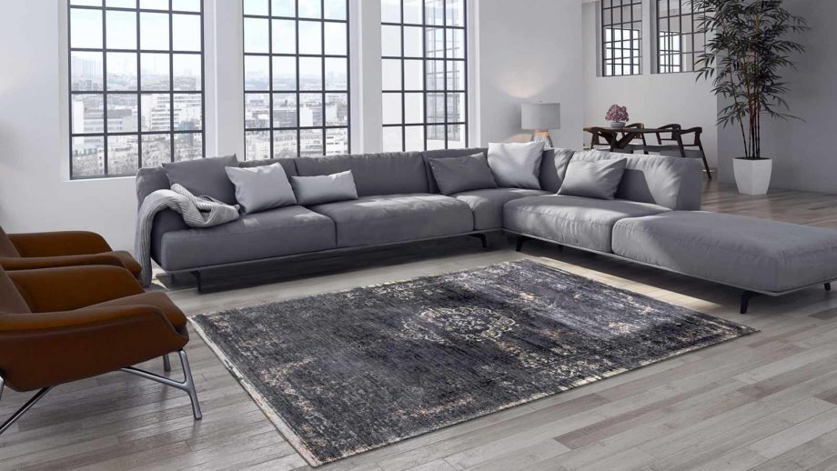 tapijt Louis De Poortere CA 8263 Fading World Medaillon Mineral Black interior 2