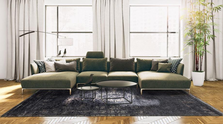 tapijt Louis De Poortere CA 8263 Fading World Medaillon Mineral Black interior